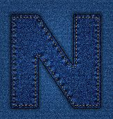 pic of letter n  - Denim letter N - JPG