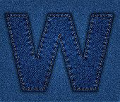 Jeans alphabet letter W