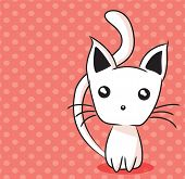 Adorable kitten on dotted background, vector illustration