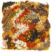 A huge range of indian spices and other ingredients, including black cardamom, chilli, black chickpeas, cashew nuts and walnuts, black (soy) beans, cloves, fenugreek powder, mustard seeds, etc