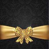 Golden ribbon with diamond bow decoration on ornate background -  eps10