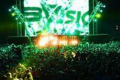 MINSK, BELARUS - JULY 6: Global Gathering Festival crowd at Borovaya airfield on July 6, 2013 in Min