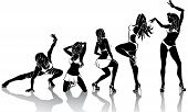 Several dancing female.Set of silhouettes on a white background.