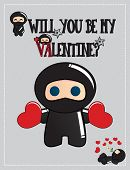 Valentine's day card with cute ninja characters, vector