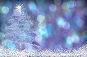 Beautiful Christmas Tree Snow Background Blue Purple
