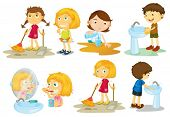 image of personal hygiene  - Illustration of the kids engaging in different activities on a white background - JPG