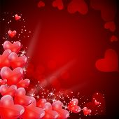 stock photo of amor  - Valentines Day Card with Heart Shaped Balloons - JPG