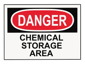 foto of warning-signs  - OSHA danger chemical storage area warning sign isolated on white - JPG