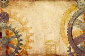 pic of steampunk  - Steampunk genre background with rusted and brass gears and cogs on grungy paper - JPG