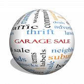 Garage Sale 3D Sphere Word Cloud Concept