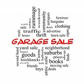 Garage Sale Word Cloud Concept In Red Caps