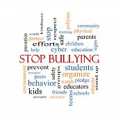 stock photo of stop bully  - Stop Bullying Word Cloud Concept with great terms such as students cyber safety and more - JPG