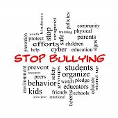 pic of stop bully  - Stop Bullying Word Cloud Concept in red caps with great terms such as students cyber safety and more - JPG