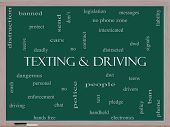 Texting And Driving Word Cloud Concept On A Blackboard