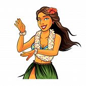 stock photo of hula dancer  - Hula dancer is dancing with joy and wearing garland and flower bracelets - JPG