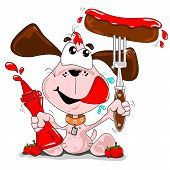 A cartoon dog with a sausage