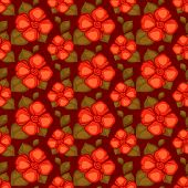vector vintage seamless pattern with red flowers