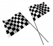 Crossed racing flags isolated on white background.