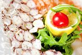 image of swordfish  - Swordfish carpaccio with rucola lemon and cherry tomato - JPG