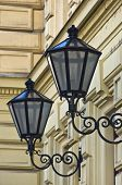 picture of neoclassical  - Typical stylish lanterns on 19th century neoclassic building dominant in Vienna - JPG