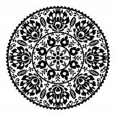 Polish traditional black folk pattern in circle - Wzory Lowickie