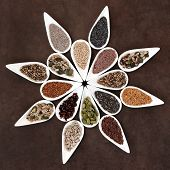 Large seed food selection in porcelain dishes over lokta paper background.