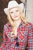 Sensual Smiling Happy Blond Cowgirl