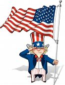 foto of uncle  - Vector Cartoon Illustration of Uncle Sam saluting and holding a waving American flag - JPG