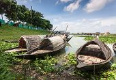stock photo of rainy season  - In the rainy season on the outskirts of Dhaka capital of Bangladesh all fields are filled with water - JPG