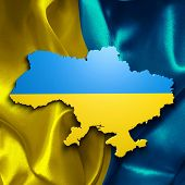 Ukraine map over a flag