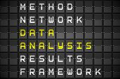 Data analysis buzzwords on digitally generated black mechanical board