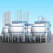 Refinery Tank Farm With Pipeline