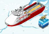 Isometric Icebreaker Ship Breaking The Ice