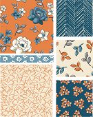 Seamless Floral Vector Patterns. Use as fills, digital paper, or print off onto fabric to create uni