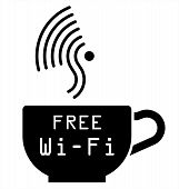 Internet cafe free WiFi symbol