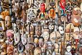 Old african masks for sale at market in Nairobi, Kenya. Africa.