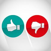 Social media flat like dislike hand icon