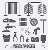 Car Wash Icons and Objects