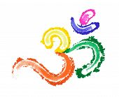 picture of sanskrit  - A painted OM symbol in a variety of vibrant colors isolated on white - JPG