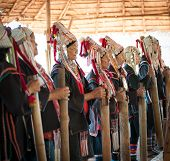 CHIANG RAI, THAILAND - DEC 4, 2013:Unidentified Akha hill tribe indigenous people dance in tradition