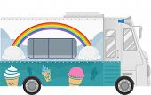 stock photo of ice-cream truck  - Colorful Illustration of a Food Truck That Specializes in Selling Ice Cream - JPG