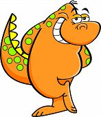 Cartoon bashful dinosaur.