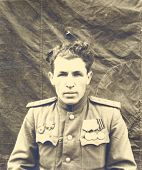 portrait of captain of the Soviet Army