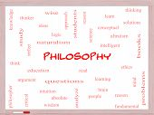 Philosophy Word Cloud Concept On A Whiteboard