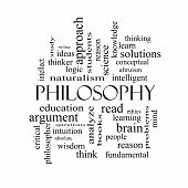 Philosophy Word Cloud Concept In Black And White