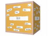 Test 3D Cube Corkboard Word Concept