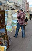 Man Photographs On Stary Arbat