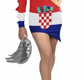 Futuristic Young Woman With Flag From Croatia On Her Dress