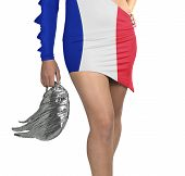 Futuristic Young Woman With Flag From French On Her Dress