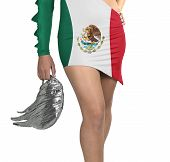 Futuristic Young Woman With Flag From Mexico On Her Dress